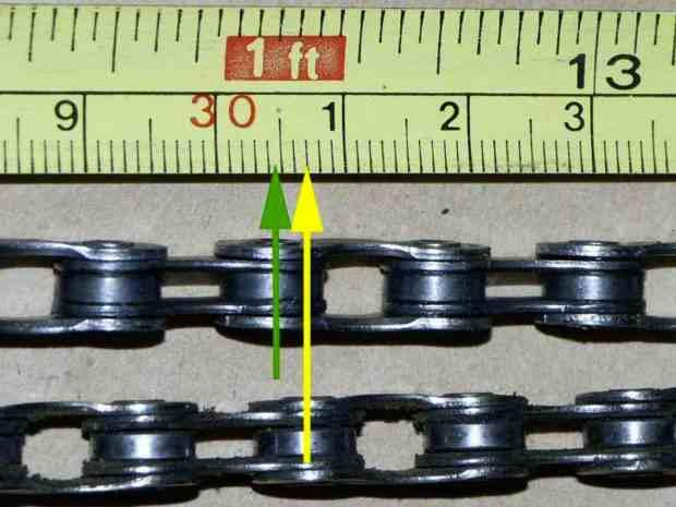 Изношенность цепи велосипеда с одной стороны